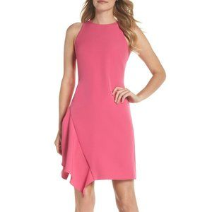 JULIA JORDAN Pink Ruffle Hem Sheath Mini Dress